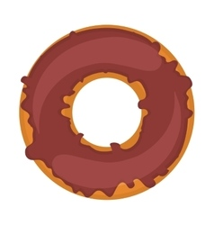 Silhouette donut with chocolate glazed vector