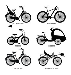 Silhouette of different bicycles for children man vector