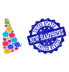 Social network map of new hampshire state with vector