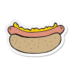 Sticker of a cartoon hotdog vector