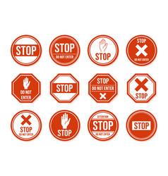 stop road sign traffic road stop symbol vector image