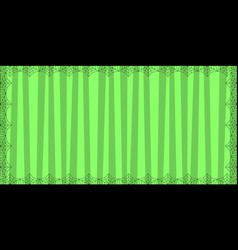 striped green rectangle background with cute vector image