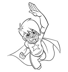 super boy flying line art vector image
