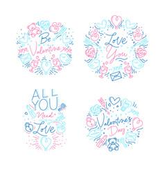 valentines day monograms flat vector image