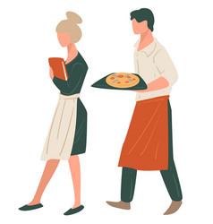 Waiter and waitress italian restaurant workers vector