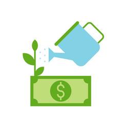 watercan watering dollar bill or banknote tree vector image
