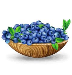 watercolor wooden bowl full fresh blueberries vector image