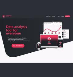 website landing page design web analytics website vector image