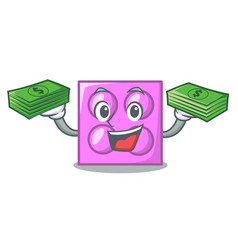 With money toy brick mascot cartoon vector