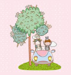 Woman and man wedding in the car with clouds vector