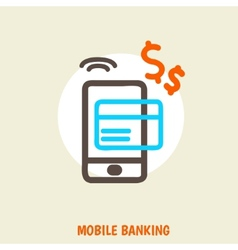 colored concept for mobile banking and online vector image vector image