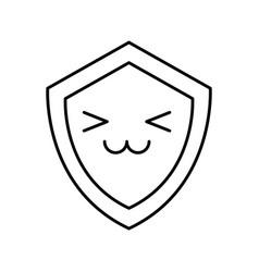 Shield guard kawaii character vector