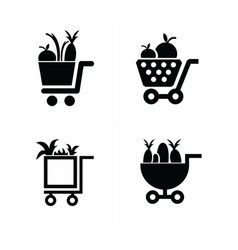 shopping cart icons and vegetables vector image