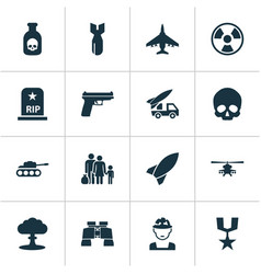 army icons set collection of cranium rocket vector image vector image