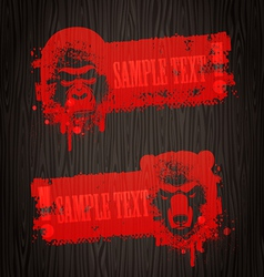 banners with animal heads vector image vector image