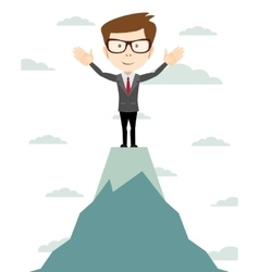 Businessman go to the top of mountain - vector image