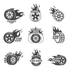 Car race logo set wheel with fire flame vector