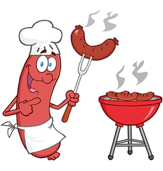 Happy Sausage Chef Cook At Barbecue vector image vector image