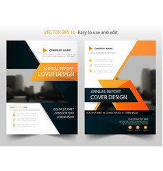 orange black annual report brochure design vector image vector image