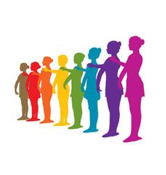 rainbow row of ballet dancers vector image