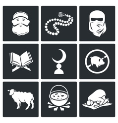 Set of Islamic culture and faith Icons vector image vector image