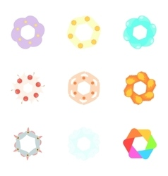 Signs flowers icons set cartoon style vector image