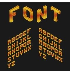 Amber Isometric Latin Alphabet 3D Geometric Font vector image vector image
