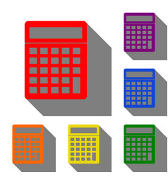 calculator simple sign set of red orange yellow vector image vector image
