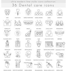 Dental care ultra modern outline line icons vector image vector image
