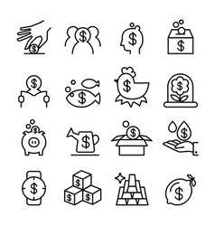 investment profit icon set in thin line style vector image vector image