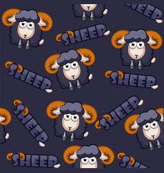 seamless pattern square cartoon black sheep vector image vector image