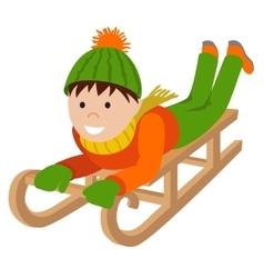 Cute child on snow sledding vector image