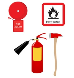 Fire extinguisher alarm bell fire risk sign and vector image