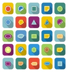 Label color icons with long shadow vector image vector image