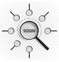 magnifiers with different angles vector image