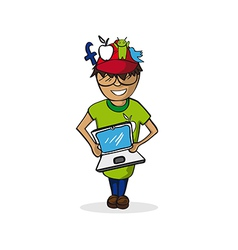 Profession social media manager man cartoon figure vector image