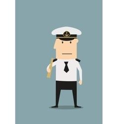 Sea captain in uniform with spyglass vector