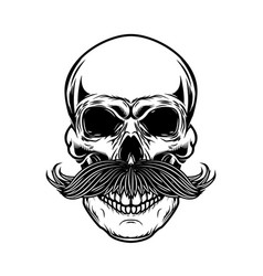 skull with moustache isolated on white background vector image