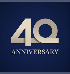 40 years anniversary paper number vector