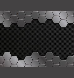 Abstract metal background hexagons pattern vector