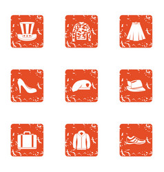 Attire icons set grunge style vector