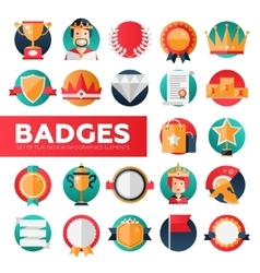 Badges ribbons awards icons set vector