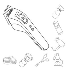 barbershop and equipment outline icons in set vector image