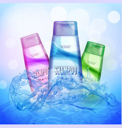 basic rgbrealistic shampoo bottle on the water vector image vector image