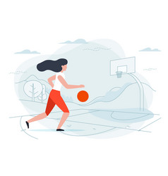 Basketball girl player vector
