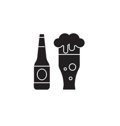 beer bottle and beer glass black concept vector image