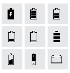 black battery icon set vector image
