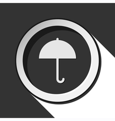 black icon - umbrella with shadow vector image