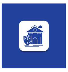 Blue round button for insurance home house vector