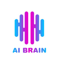 brain logo colored silhouette design vector image